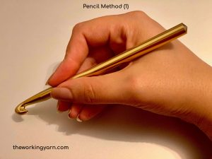 One method of how to hold the hook using the pencil method